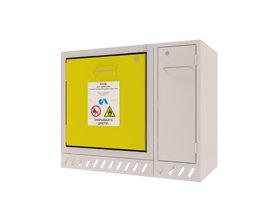 Комплектация нижних тумб для вытяжных шкафов серии ЭКО. Размер ШВ-900 (в комплекте Шкаф для безопасного хранения легковоспламеняющихся жидкостей модели Ш-ЛВЖ-600).